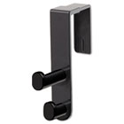 Plastic Coat Hook, 2-Hook, 1 3/4 x 6 1/2 x 7 3/4, Black SAF4225BL