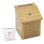 Wood Suggestion Box, Latch Lid Key Lock, 7 3/4 x 7 1/2 x 9 3/4, Oak SAF4230MO