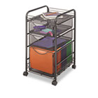 Onyx Mesh Mobile File With Two Supply Drawers, 15-1/4w x 17d x 27h, Black SAF5213BL