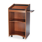 Executive Mobile Lectern, 25-1/4w x 19-3/4d x 46h, Medium Oak SAF8918MO