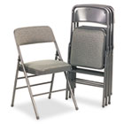 Deluxe Fabric Padded Seat & Back Folding Chairs, Cavallaro Dark Gray, 4/Carton CSC36885CVG4