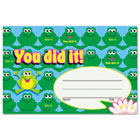 Recognition Awards, You Did It--Frogs, 8 1/2w by 5 1/2h, 30/Pack TEPT81034