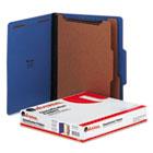 Classification Folders, Letter Size, 6 Section, 2 Dividers, Cobalt Blue Pressboard, Top Tab, 10/Box UNV10301