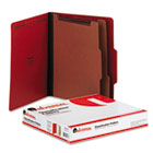 Classification Folders, Letter Size, 6 Section, 2 Dividers, Ruby Red Pressboard, Top Tab, 10/Box UNV10303