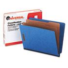 End Tab Classification Folders, Letter Size, 6 Section, 2 Dividers, Blue Pressboard, 10/Box UNV10318