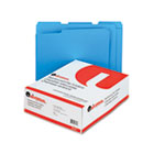 Colored File Folders, 1/3 Cut Assorted, Two-Ply Top Tab, Letter, Blue, 100/Box UNV16161