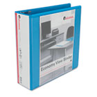 "Economy D-Ring Vinyl View Binder, 3"" Capacity, Light Blue UNV20739"