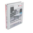 "Economy D-Ring Vinyl View Binder, 1"" Capacity, White UNV20742"