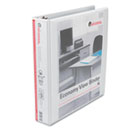 "Economy D-Ring Vinyl View Binder, 1-1/2"" Capacity, White UNV20744"