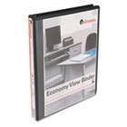 "Round Ring Economy Vinyl View Binder, 1/2"" Capacity, Black UNV20951"