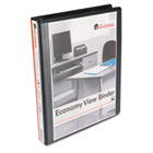 "Round Ring Economy Vinyl View Binder, 1"" Capacity, Black UNV20961"