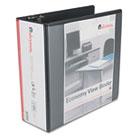 "Economy D-Ring Vinyl View Binder, 4"" Capacity, Black UNV20995"