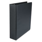 "Suede Finish Vinyl Round Ring Binder, 2"" Capacity, Black UNV34401"