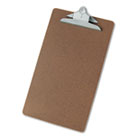 "Hardboard Clipboard, 1-1/4"" Capacity, Holds 8-1/2w x 14h, Brown UNV40305"