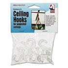 Clear Plastic Ceiling Hooks, 5/16 x 3/4 x 1 3/8, 6/Pack ADM1900993241