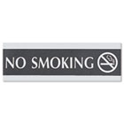 Century Series Office Sign, NO SMOKING, 9 x 3, Black/Silver USS4757