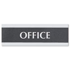 Century Series Office Sign, OFFICE, 9 x 3, Black/Silver USS4762