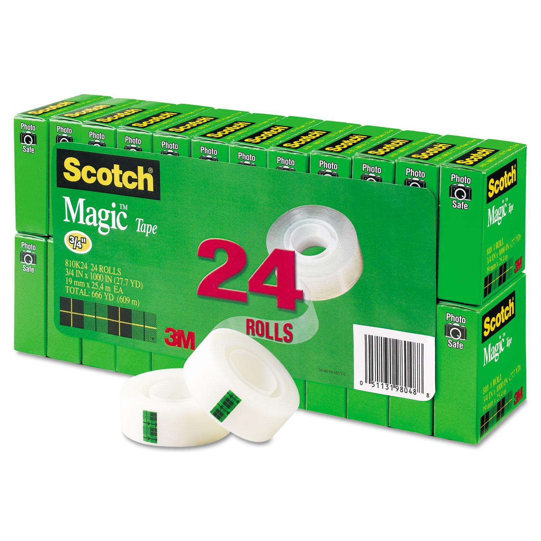 """Scotch Magic Tape Value Pack 3/4"""" x 1000"""" 1"""" Core Clear 24/Pack 810K24"""