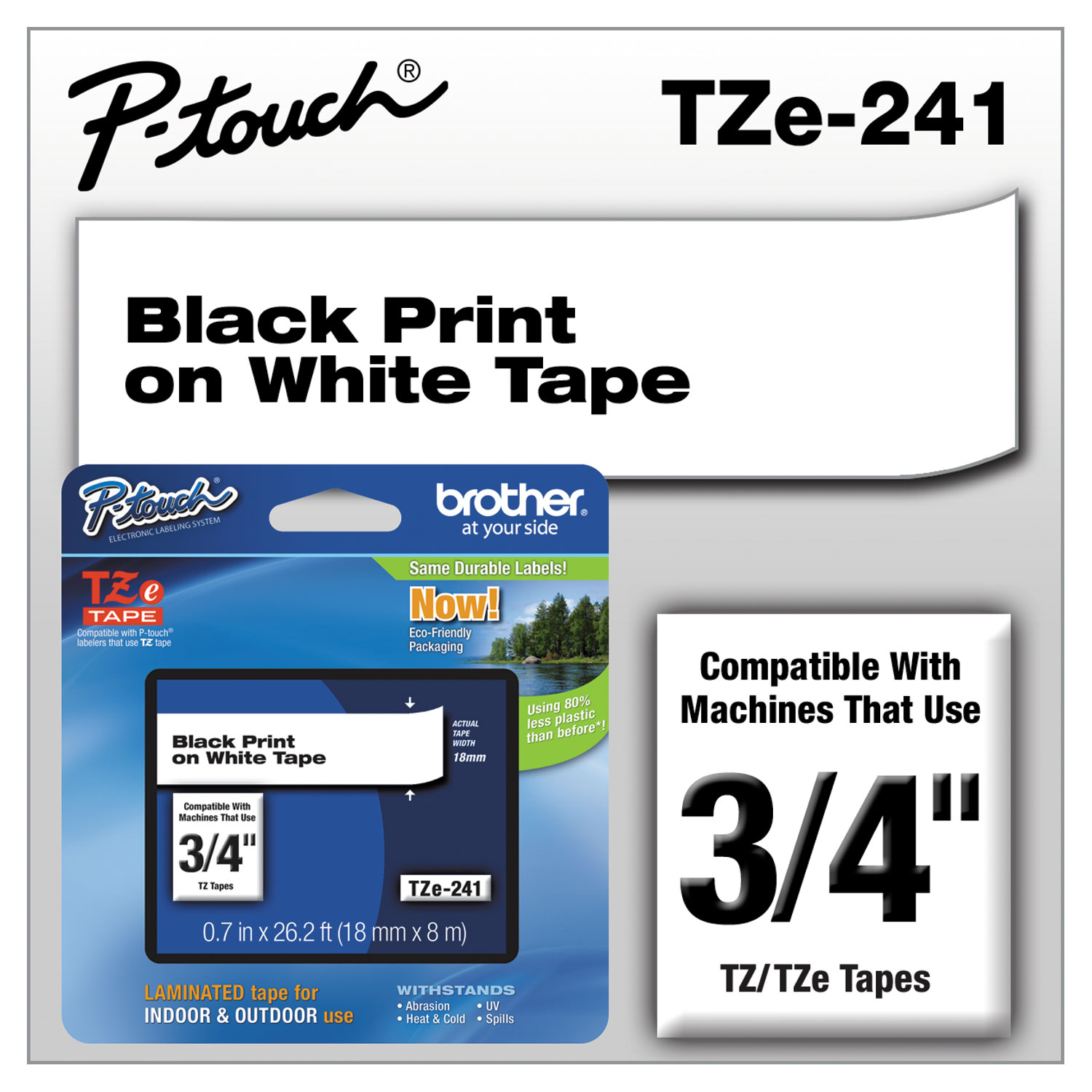 """P-Touch TZ Standard Adhesive Laminated Labeling Tape 1//2/""""w Pastel Purple"""