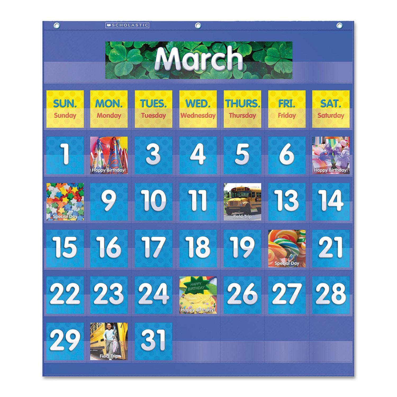 Monthly Calendar Pocket Chart 25 1 2 X 10 013 Blue Clear