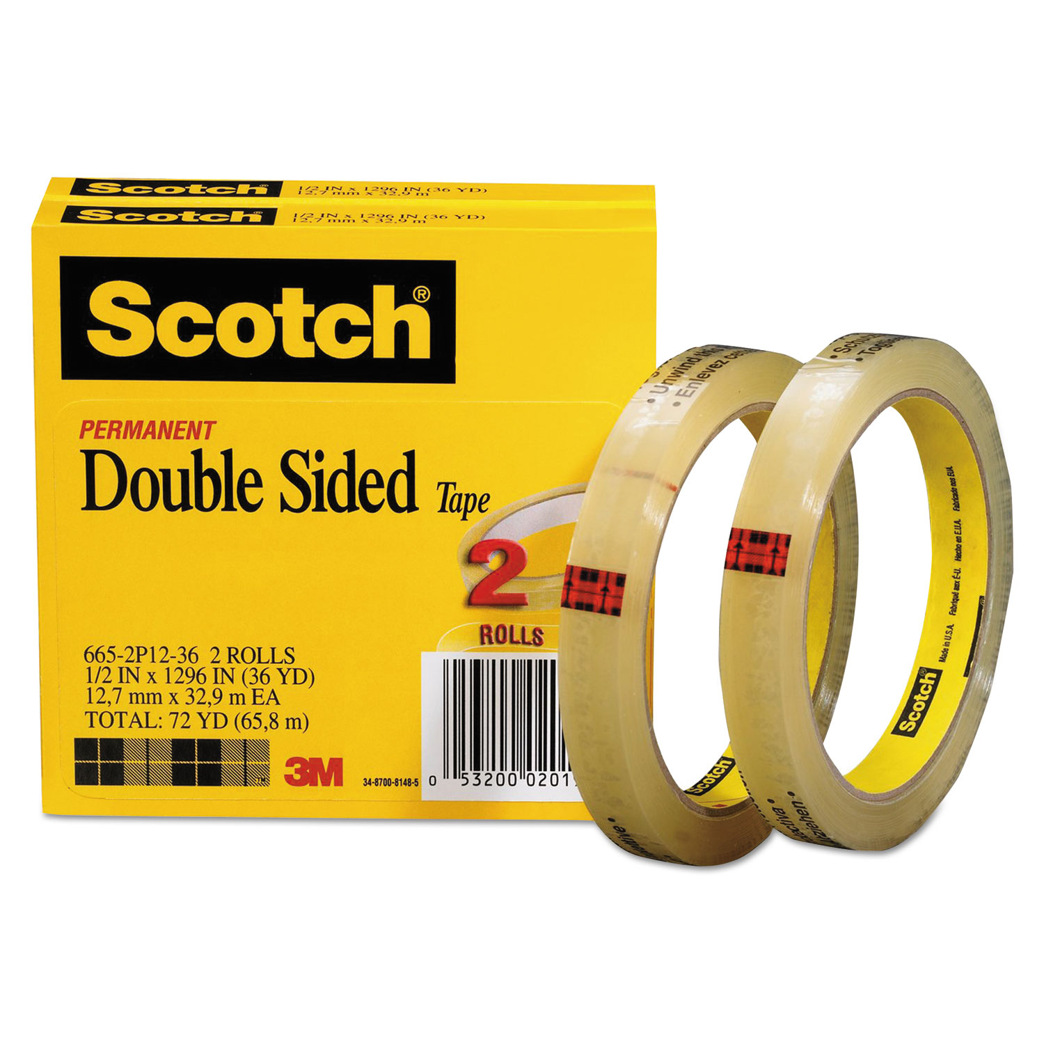 665 double sided tape by scotch mmm6652p1236. Black Bedroom Furniture Sets. Home Design Ideas