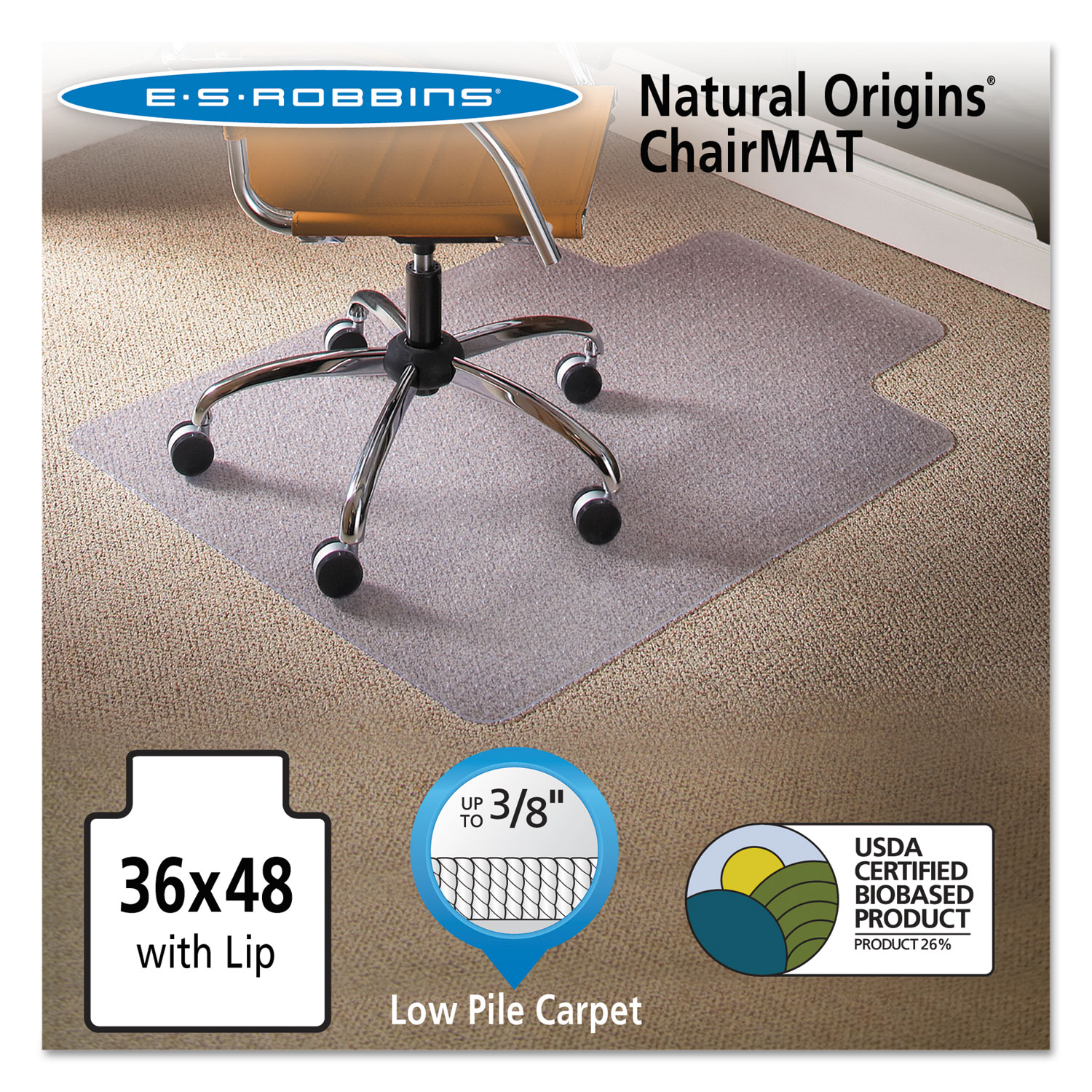 Natural Origins Chair Mat With Lip For Carpet 36 X 48 Clear
