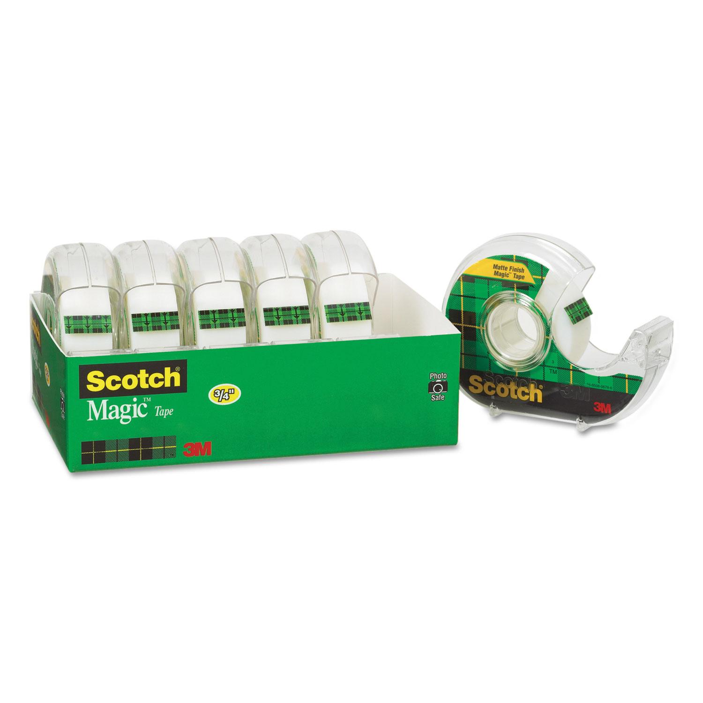 "Scotch Magic Tape & Refillable Dispenser 3/4"" x 650"" 1"" Core Transparent 6/Pack"