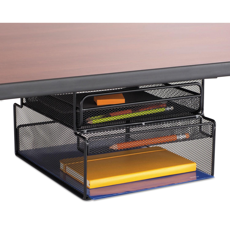 Onyx hanging organizer w drawer under desk mount 12 1 3 - Hanging desk organizer ...