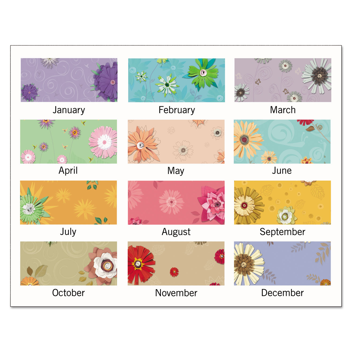At-A-Glance Paper Flowers Compact Monthly Desk Pad 17 3/4 x 10 7/8 2019 PF5032