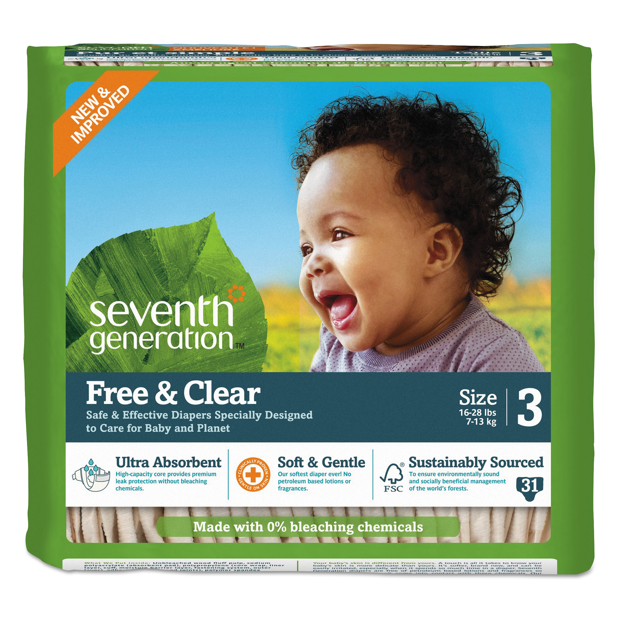 Seventh Generation Free and Clear Baby Diapers, Size 3, 16 l