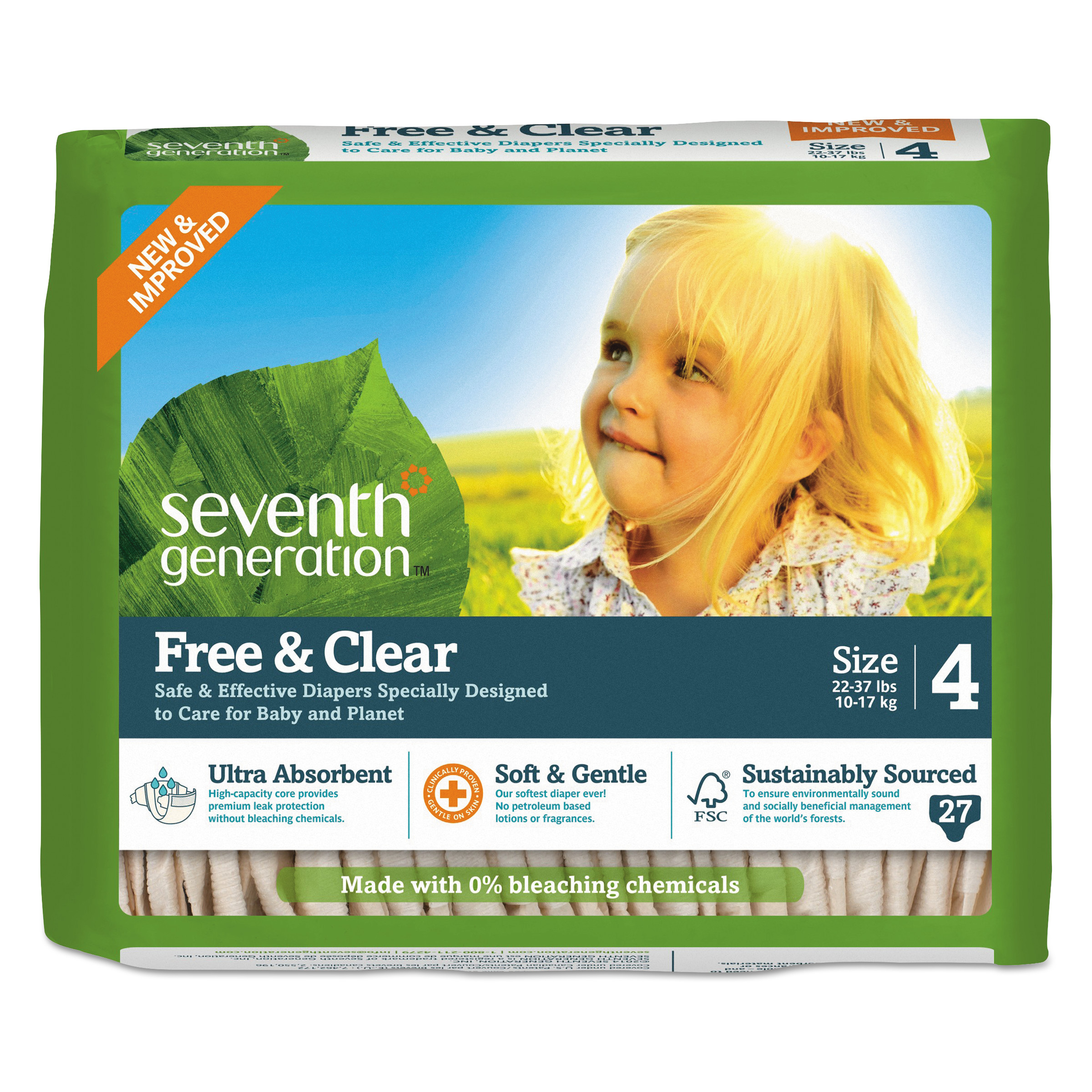 Seventh Generation Free and Clear Baby Diapers, Size 4, 22 l