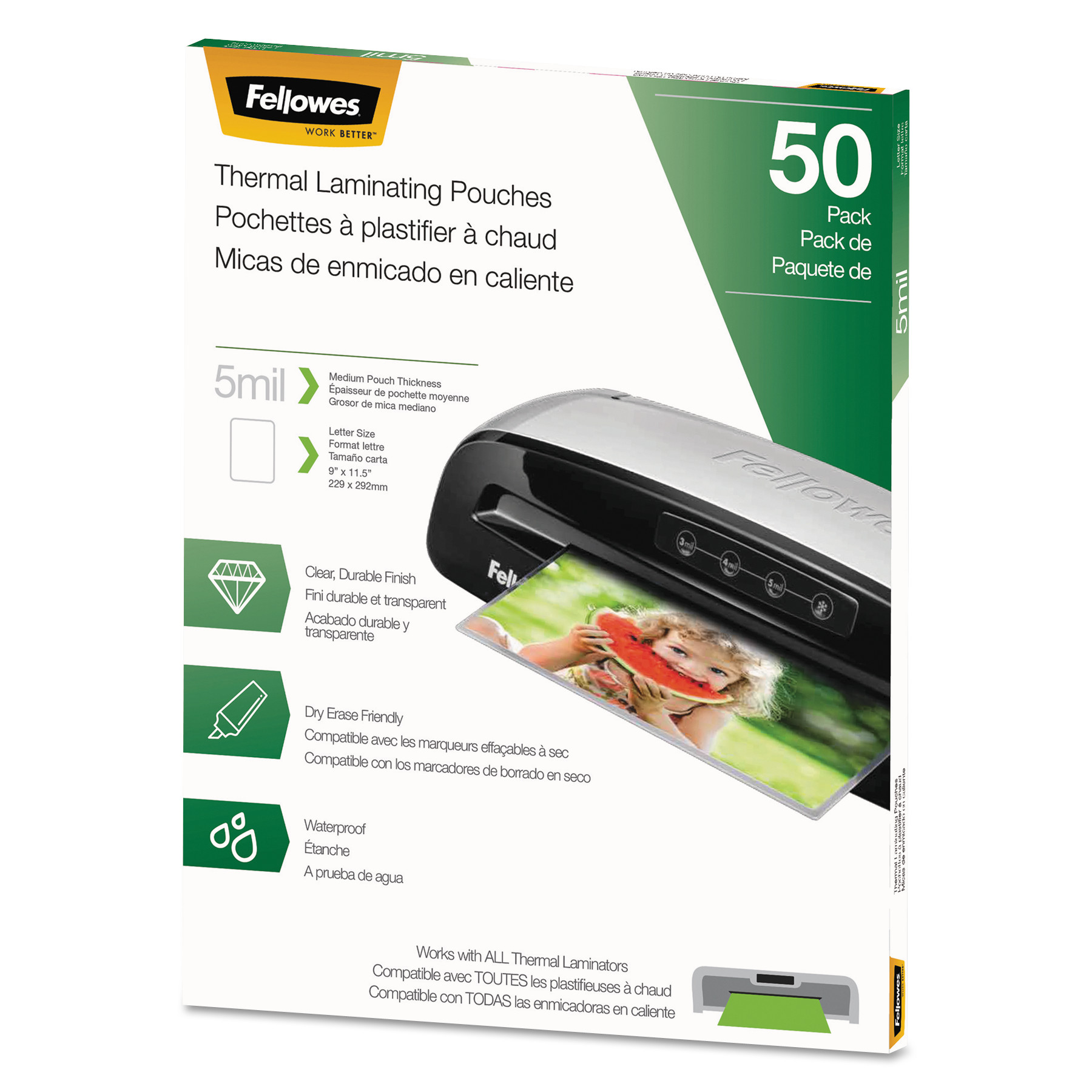 NEW Fellowes 5744501 Thermal Laminating Pouches Letter, 5mil