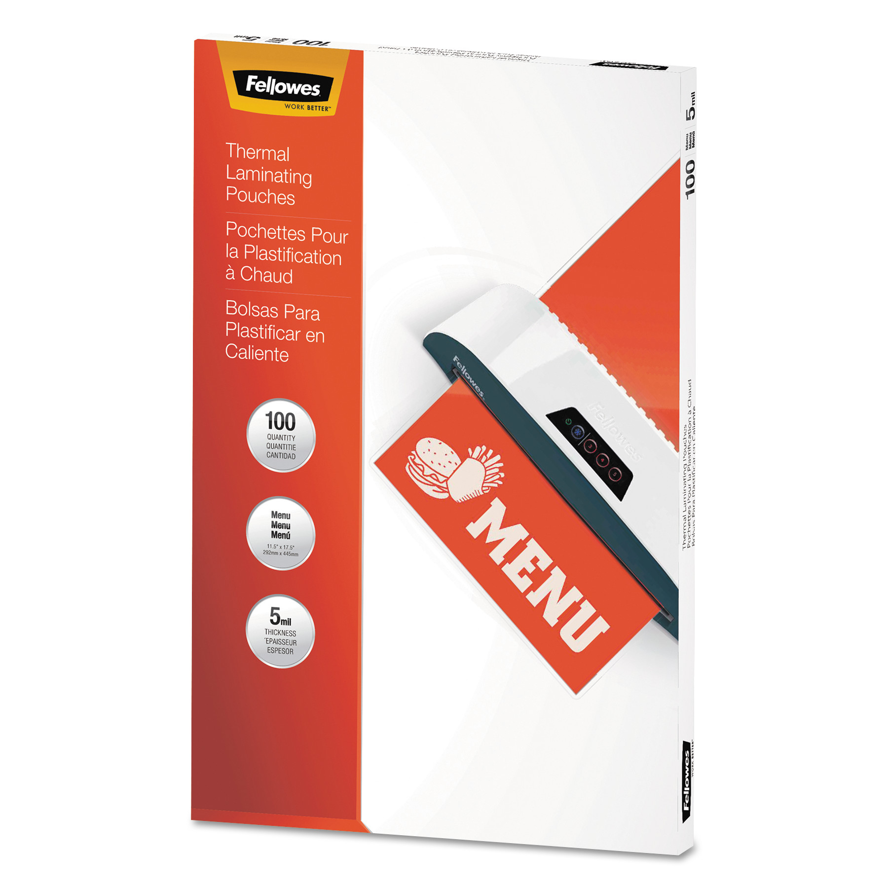 Fellowes Thermal Laminating Pouches, Menu, 5 mil, 100/Pack 5