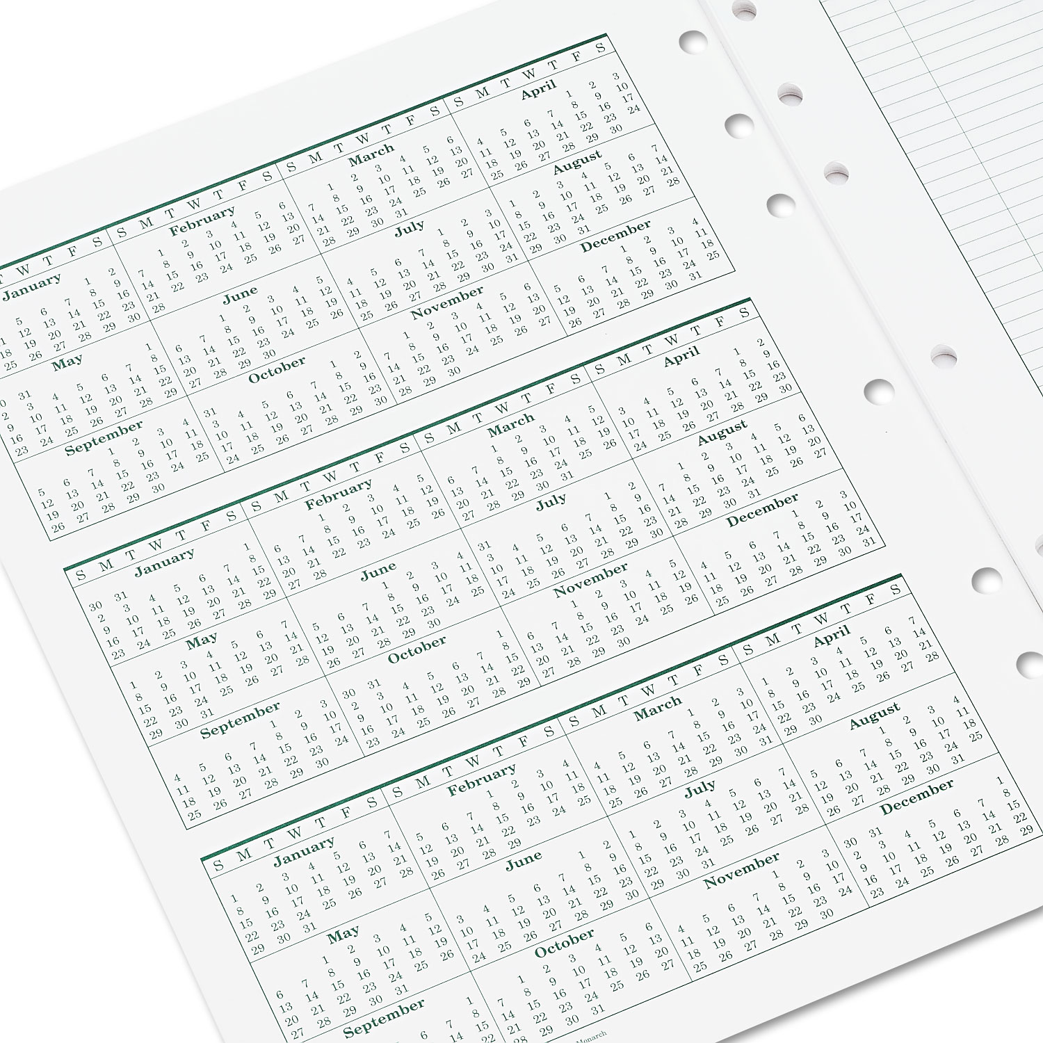 original dated monthly planner refill  january