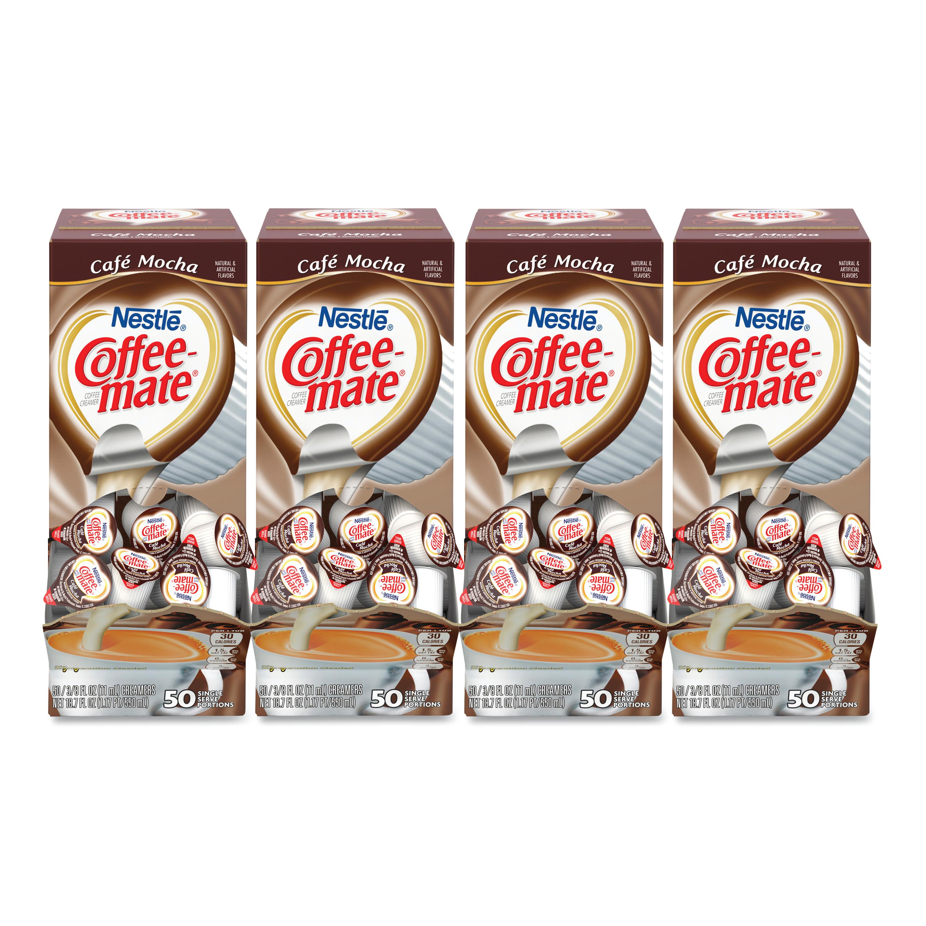 Liquid Coffee Creamer, Café Mocha, 0.375 Oz Cups, 50/Box, 4 Box/Carton