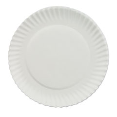 "White Paper Plates, 6"" dia, 100/Bag, 10 Bags/Carton"