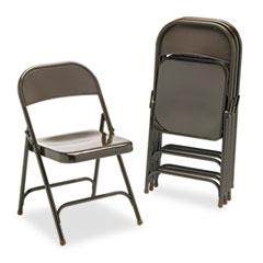 Metal Folding Chairs, Mocha, 4/Carton VIR16213M