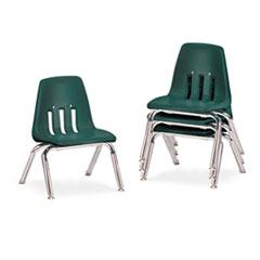 "9000 Series Classroom Chairs, 10"" Seat Height, Forest Green/Chrome, 4/Carton VIR901075"
