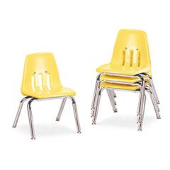 """9000 Series Classroom Chairs, 12"""" Seat Height, Squash/Chrome, 4/Carton VIR901247"""