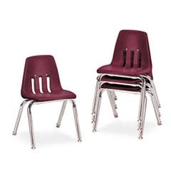 "9000 Series Classroom Chairs, 14"" Seat Height, Wine/Chrome, 4/Carton VIR901450"