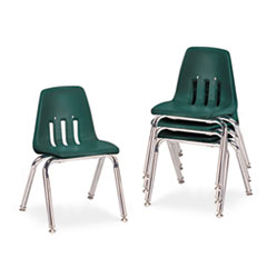 "9000 Series Classroom Chairs, 14"" Seat Height, Forest Green/Chrome, 4/Carton VIR901475"