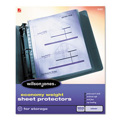 Economy Weight Top-Loading Sheet Protectors, Semi-Clear Finish, Letter, 100/Box