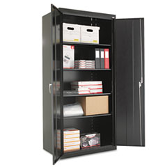 "Assembled 78"" High Storage Cabinet, w/Adjustable Shelves, 36w x 24d, Black"