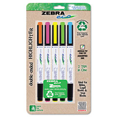 Eco Zebrite Double-Ended Highlighter, Chisel/Fine Point Tip, 5/Set