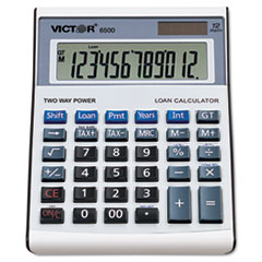 6500 Executive Desktop Loan Calculator, 12-Digit LCD, Black/Silver