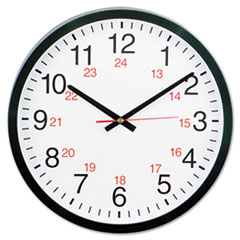 "COU ** 24-Hour Round Wall Clock, 12 3/4 "", Black at Sears.com"