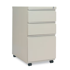 Three-Drawer Metal Pedestal File With Full-Length Pull, 14-7/8w x 23 1/8d, Putty