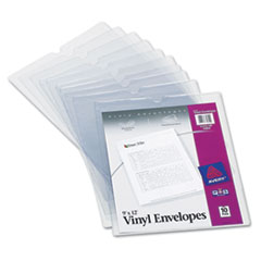 Top-Load Clear Vinyl Envelopes w/Thumb Notch, 9 x 12, Clear, 10/Pack