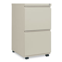 Two-Drawer Metal Pedestal File With Full-Length Pull, 14 7/8w x 19 1/8d, Putty