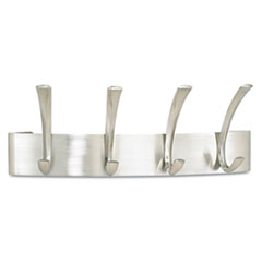Metal Coat Rack, Steel, Wall Rack, Four Hooks, 14-1/4w x 4-1/2d x 5-1/4h, Silver